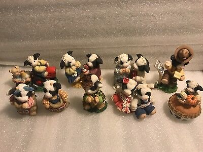 Enesco Mary's Moo Moo's Lot Of 9 Figurines - Good Condition - Cows