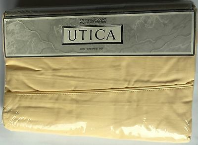 Utica Twin Sheet Set No Iron 200 Thread Count 100% Cotton Color Buttercup - New