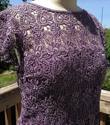 New lavender formal cocktail bridesmaid Mother of bride/groom lace dress 12 NWT