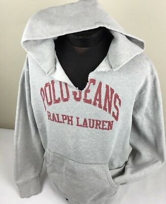 Vintage Polo Ralph Lauren Hoodie Sweatshirt Pullover Spell Out Sweat L Gray