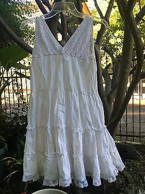 Vintage White Cotton Girl's Child's Dress-Up Petticoat Slip Nightgown Pioneer