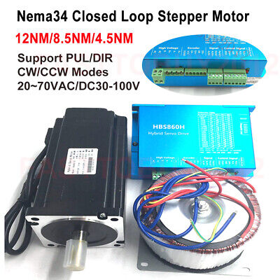 12NM/8.5NM/4.5NM DSP Closed Loop Stepper Motor Nema34+Drive+Power Supply Kit 60V