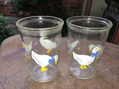 Vintage PAIR OF 2 BAMA JELLY JAR Duck Goose COLLECTIBLE JUICE GLASS VGUC