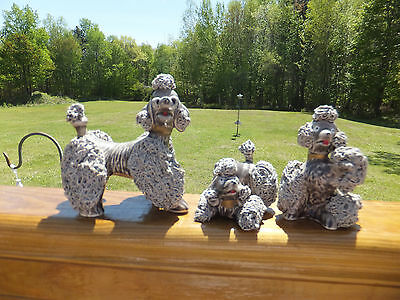 Vintage Gray Spaghetti Poodle Family of 3 Dogs - Mother with 2 Puppies