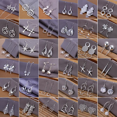 Fashion Women 925 Silver Filled Crystal Rhinestone Drop Stud Earrings jewelry