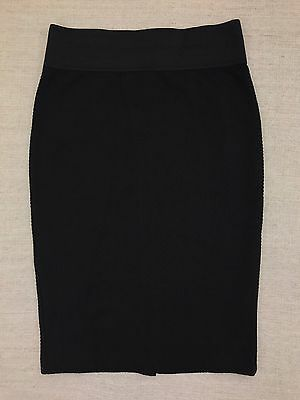 INC Womens Sz S Black Textured Knit Pencil Skirt Wide Waistband NEW With Tags
