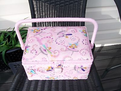 pink Large Vintage Retro Woven Cane Sewing Box