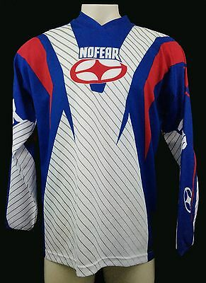 NO FEAR J5 Mens Red White Blue Motorcross ATV Racing L/S Jersey Size L