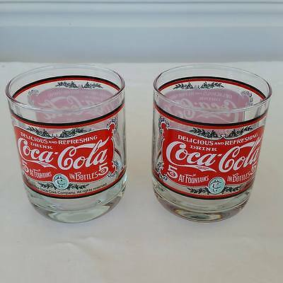 Coca Cola Coke Drinking Glass Tumbler Lot of 2 - 5c Heavy Base Collectable