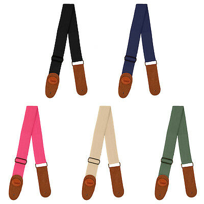 Adjustable Multi Color Cotton Guitar Strap Leather Electric Leather Ends Fashion