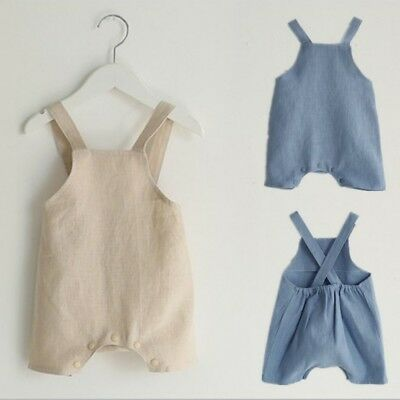 Newborn Baby Boys Girls Romper Jumpsuit Cotton Linen Sleeveless Suspender Outfit