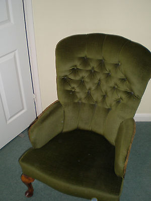 Pair of made to order, used, green velvet Queen Anne style chairs.