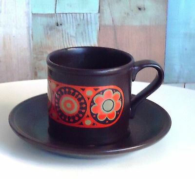 Funky Retro Staffordshire England Kiln Craft Ironstone Cup & Saucer Duo *Hermes