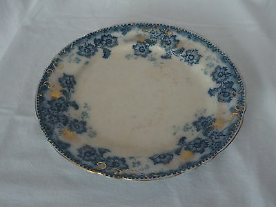 Rare Antique 1910 F & Sons Burslem England Flow Blue & Gold Plate *Sylvia
