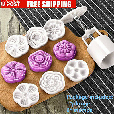 Moon Cake Mold With 6 Stamps - Mid Autumn Festival DIY Decoration Press 50g USA