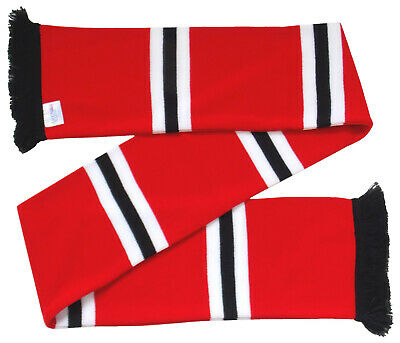 Manchester United Style Red White Black Retro Scarf - Made in the UK