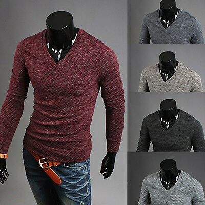 Mens Fashion Casual V Neck Long Sleeve Solid Sweater Pullover Jumper Knitwear AU