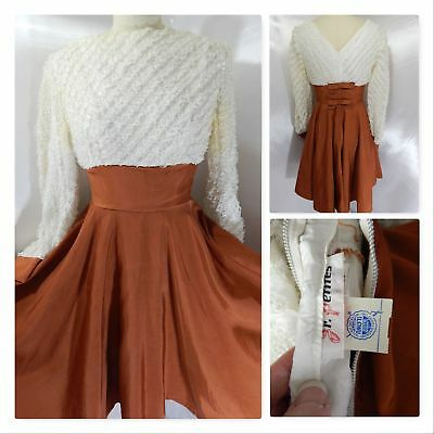 1950s Vintage DRESS~Ivory/Brown A-line Ruffled Lace Bows JR PETITES Rockabilly