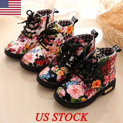 Childs Kids Girls Floral Low Heel Flat Ankle Lace Up Children Shoes Boots Size