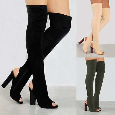 Womens Over The Knee High Heel Ladies Long Thigh High Boots Open Toe Shoes Size