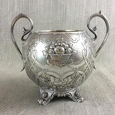 Victorian Silver Plated Bowl Pot Urn Flower Vase Ornate Repousse