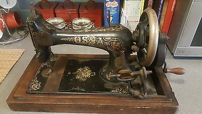 Beautiful Antique Victorian German Ossa Hand Crank Sewing Machine - Very Ornate