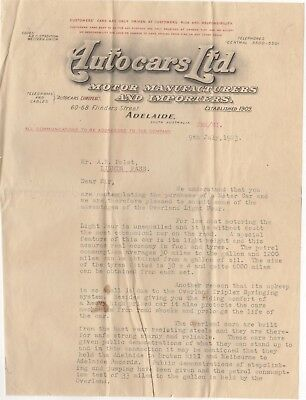 Australia 1923 Promotional letter from Autocars Ltd., Overland Motor Vehicles