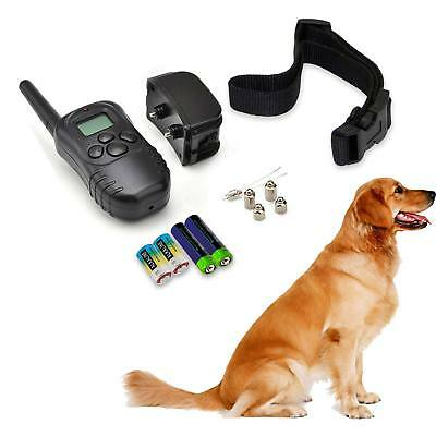 Rechargeable Electric Shock Dog Collar Remote Control LCD Training Anti-Bark UK