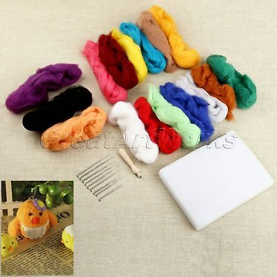 16 Colours Wool + 9 Needles + Felting Handle 3 in 1 Set DIY Spinning Materials