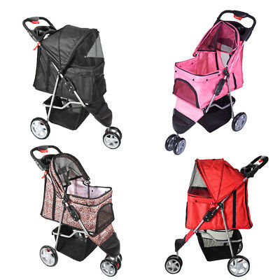 Dog Puppy Cat Pet Travel Stroller Pushchair Pram Jogger Buggy Swivel 3 Wheels