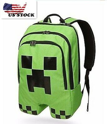 Minecraft Backpack School Bag Green Creeper Rucksack Sport Waterproof