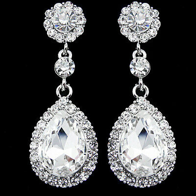 Vintage Style Silver Crystal & Diamante Teardrop Drop Dangle Dangly Earrings