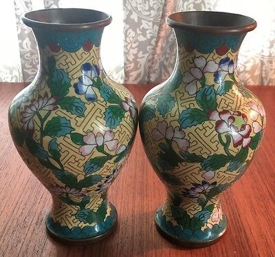 Pair Matching Antique Chinese Cloisonne Vases #