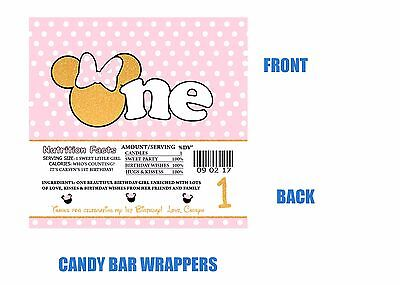 Minnie Mouse Candy Bar Wrappers, Candy bar wrappers Birthday