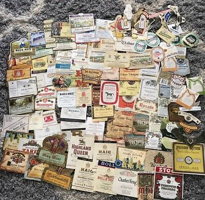 Vintage&Present Wine~Beer~Liquor Labels From Around World Lot Of Over 130 Mixed