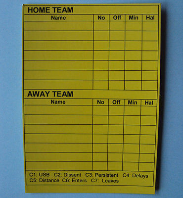 Write On Cards For Referees:  Yellow Disposable Cards