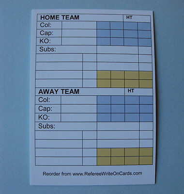 Write On Cards For Referees:  White Match Report Sheet