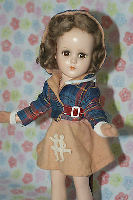 "PRETTY!! Vintage 14"" Nancy Lee Skater Composition Doll Original Outfit"