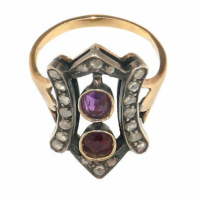 (1730)Early 20th century rubies and diamonds ring