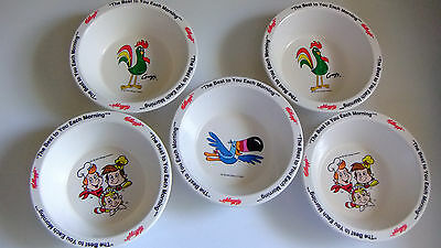 5 Vintage 1995 Kellogg's Hard Plastic Cereal Bowls Snap, Corny and Toucan