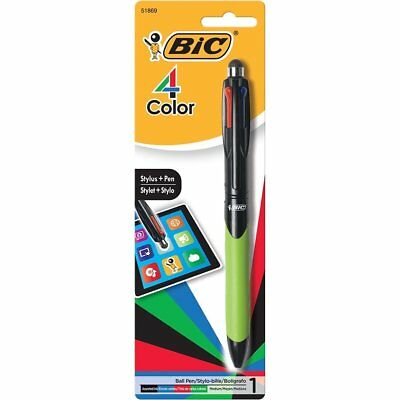 BIC 4-Color Grip Stylus Medium Ballpoint Pen 1.0mm 1-Pack Blister, Assorted