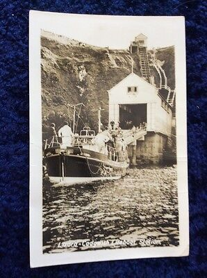 RPPC Real Photo Postcard of the Cadgwith Lifeboat & Lifeboat Station - FAULTS.