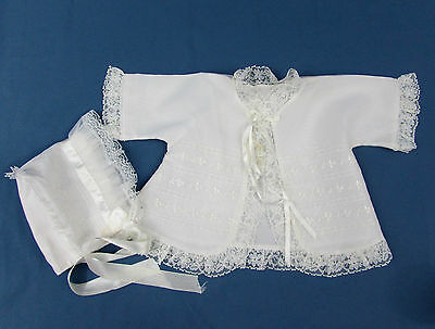 Vintage 50s Baby Jacket & Bonnet - embroidered nylon, lace, ribbons