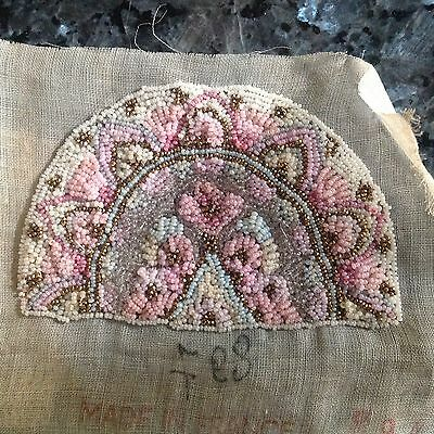 ANTIQUE FRENCH MICRO BEADED on Fine Cotton Gauze -'30's -TWO pcs/set-TWO LEFT!