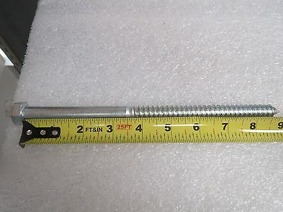 "Hex Head 1/2 x 9"" Lag Screw Bolts, Zinc Plated, NEW LOT OF 25 PIECES"