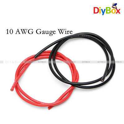 Black Red 10 AWG Gauge Wire Silicone Flexible Copper Stranded Cables For RC