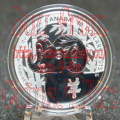 2015 - Canada - 羊年 - Year of the Sheep/Ram - 1/2 oz $10 Pure Silver Coin