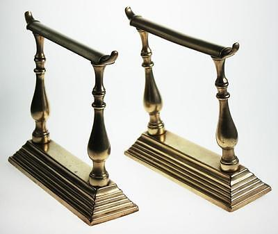 Set of 2 Antique Victorian Brass Fireplace Fire Dogs Andirons  [PL1914]