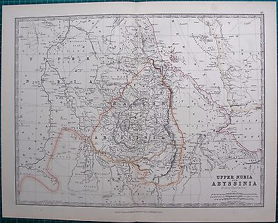 1880 Antique Map - Upper Nubia And Abyssinia