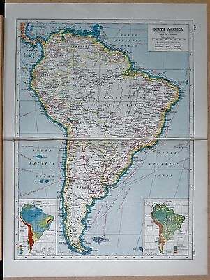 1920 Map -Post Ww1- South America, Political & Industrial